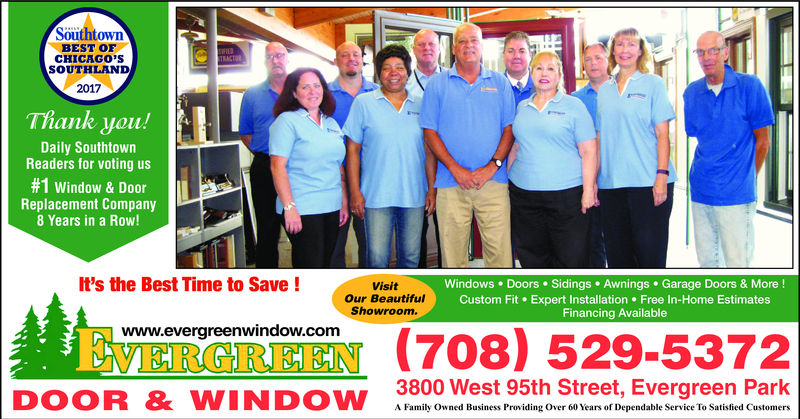 Exceptionnel Thank You Daily Southtown Readers For Voting Us The #1 Window U0026 Door  Replacement Company 8 Years In A Row!